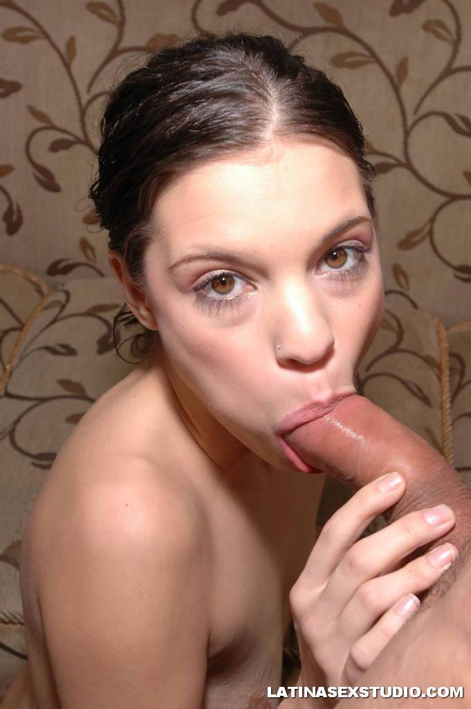 Latina swallowing cum