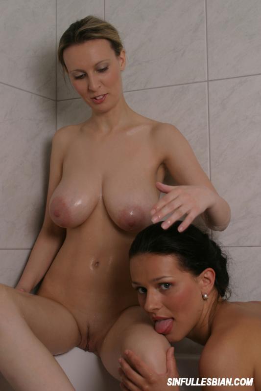 Busty lesbian shower sex