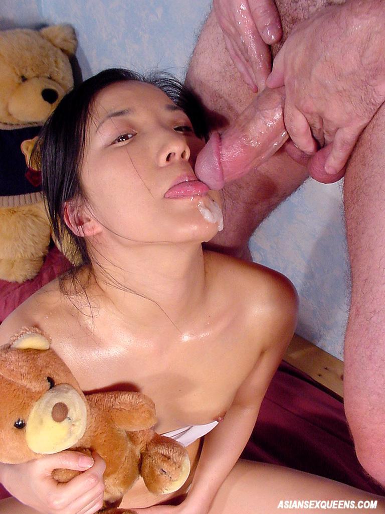 Asian girl eats cum