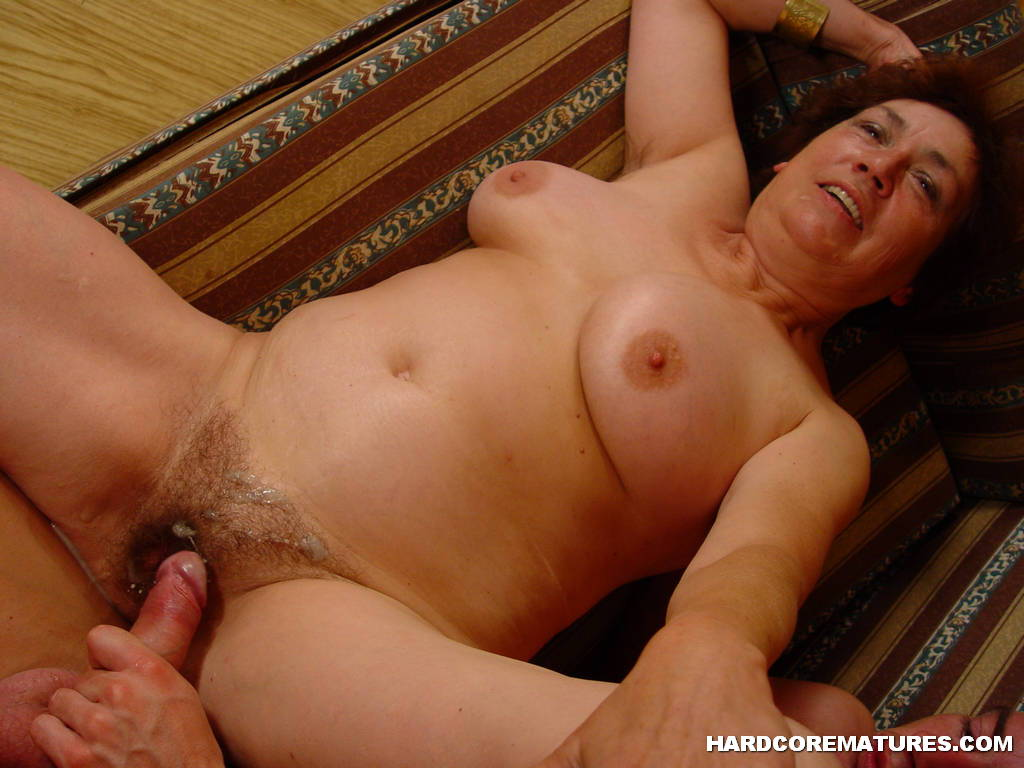 Mature cums on cock