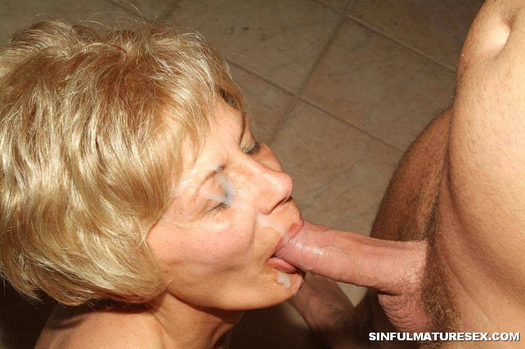 image Grandma gives a gummy blowjob