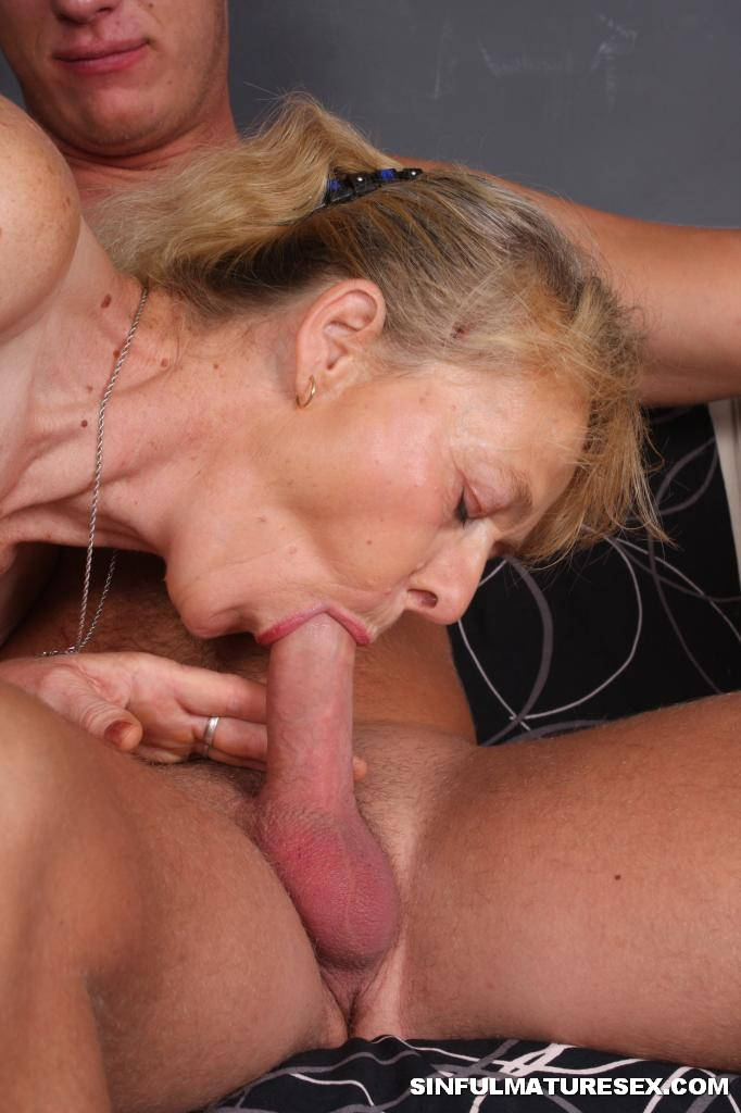 Granny swallows porn