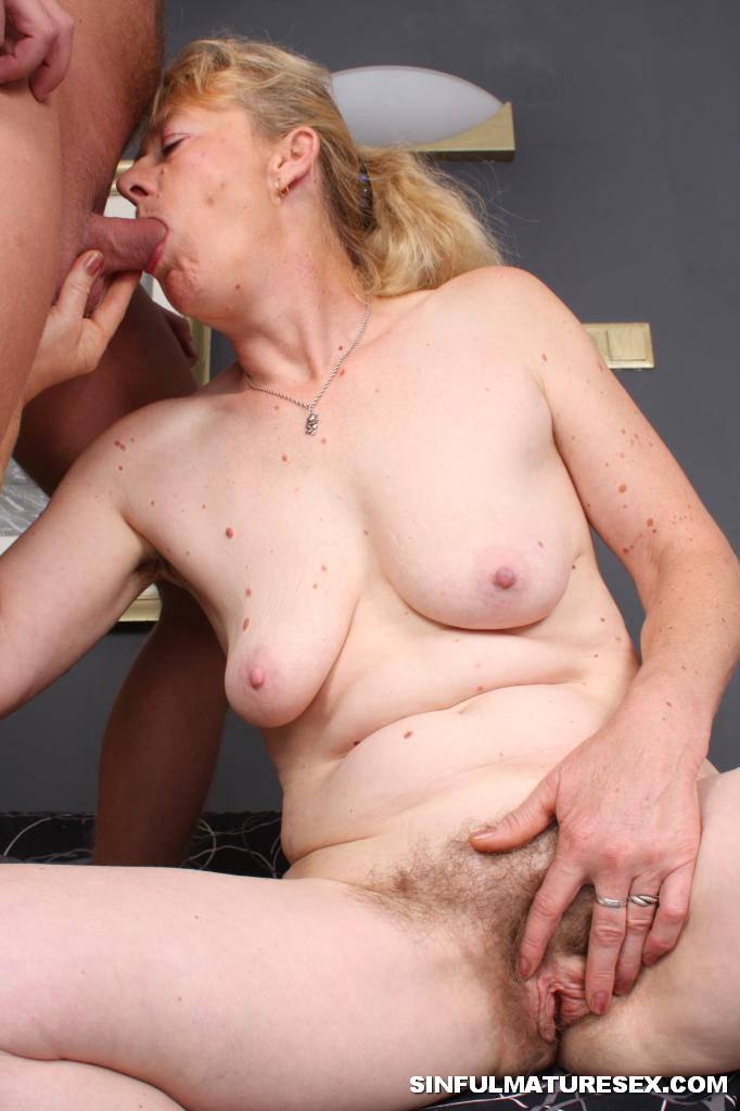 Granny eating cum