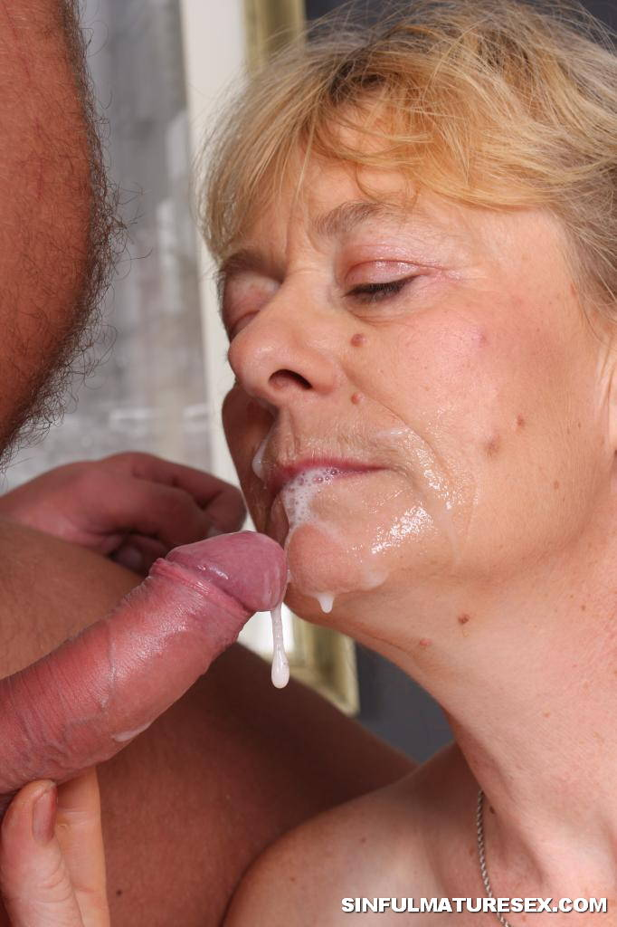 Fat granny swallows cum