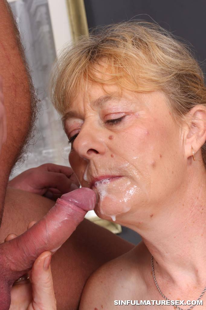 Grandma eats cum