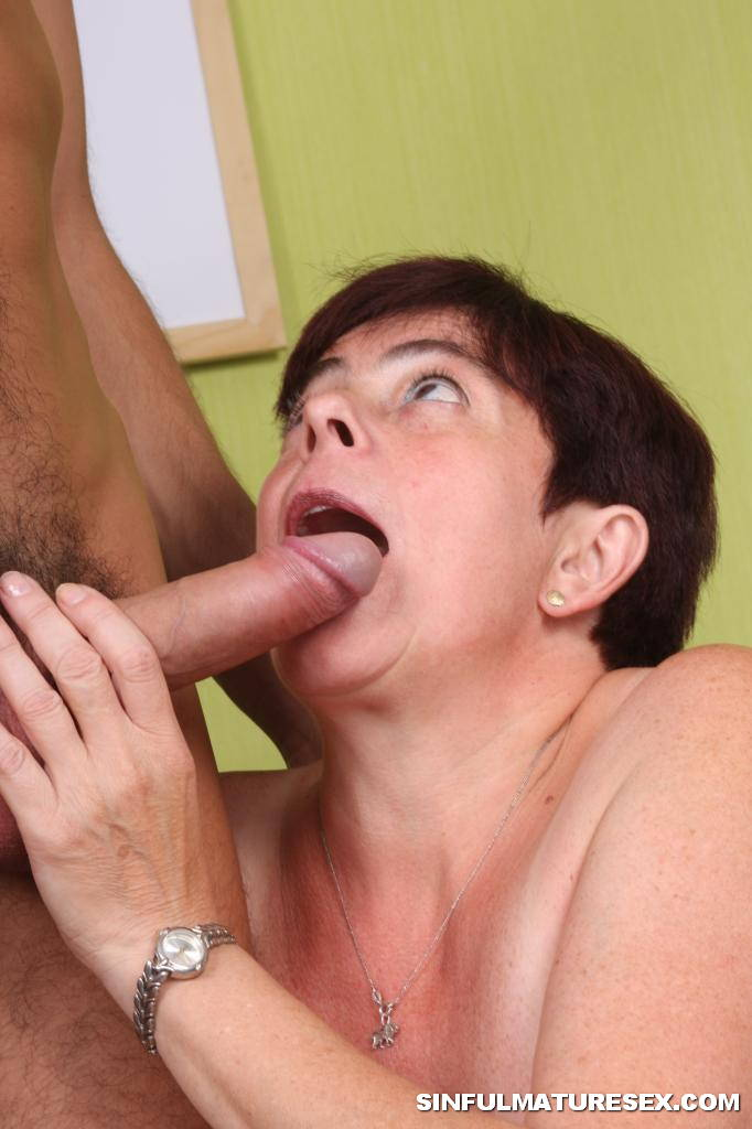Old mature sucks cock