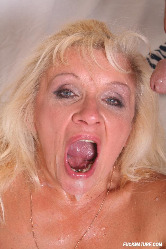 Granny eats cum