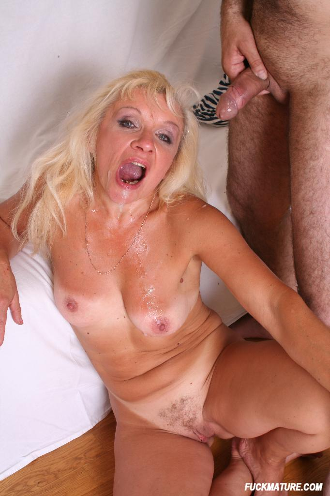 Dom grandma gets cum in mouth from son and