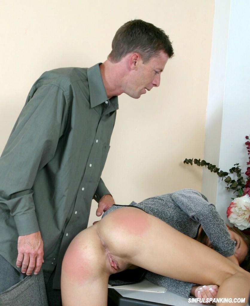 Amateur slut gets spanking and facial 8