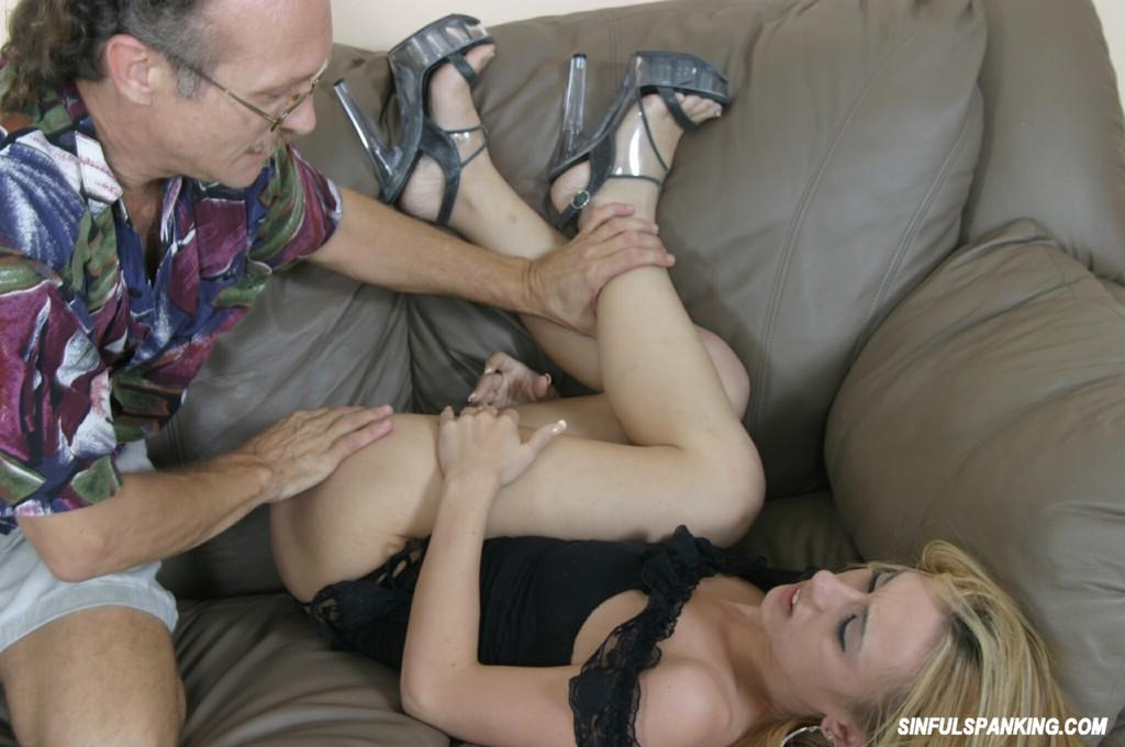 Old Man Spanking Hot Teen Blonde 3026-1018