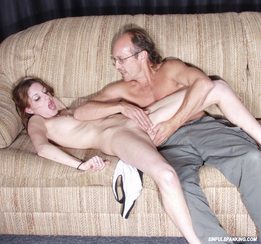old man spanks girl