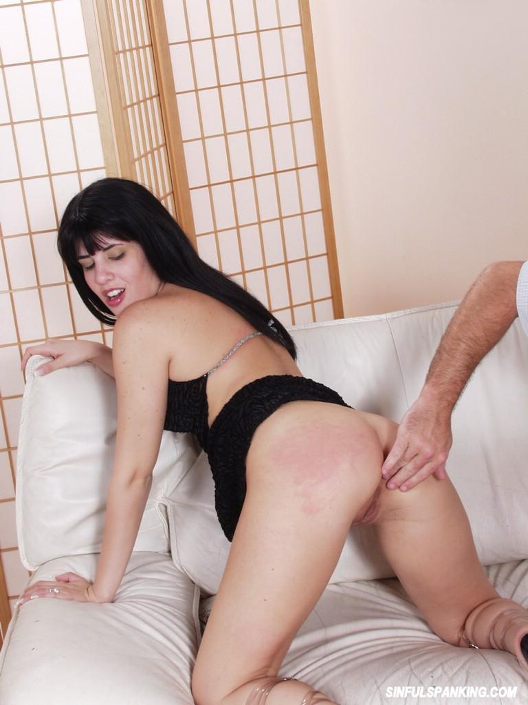 brunette spanked