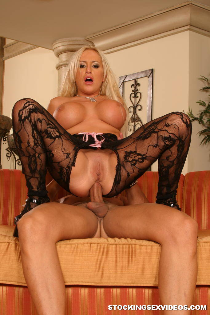 Blonde black fishnet stockings are mistaken