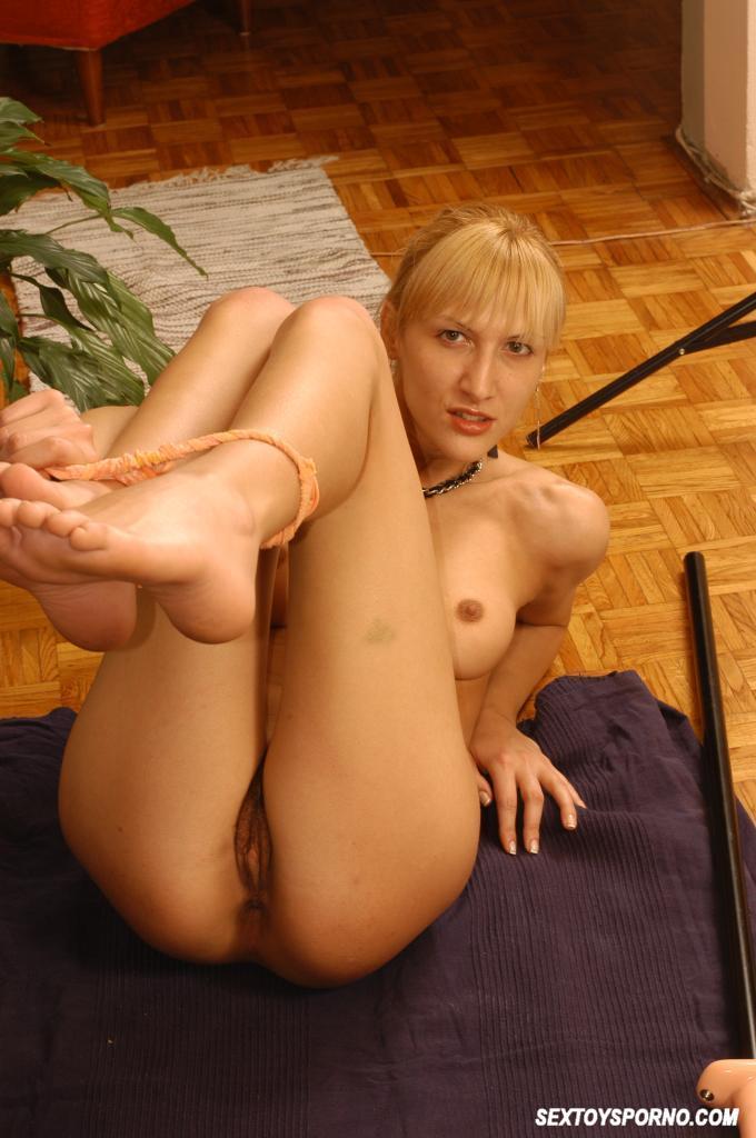 Blonde using huge monster dildo