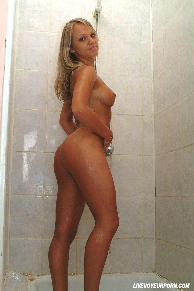 Sexy blonde in shower