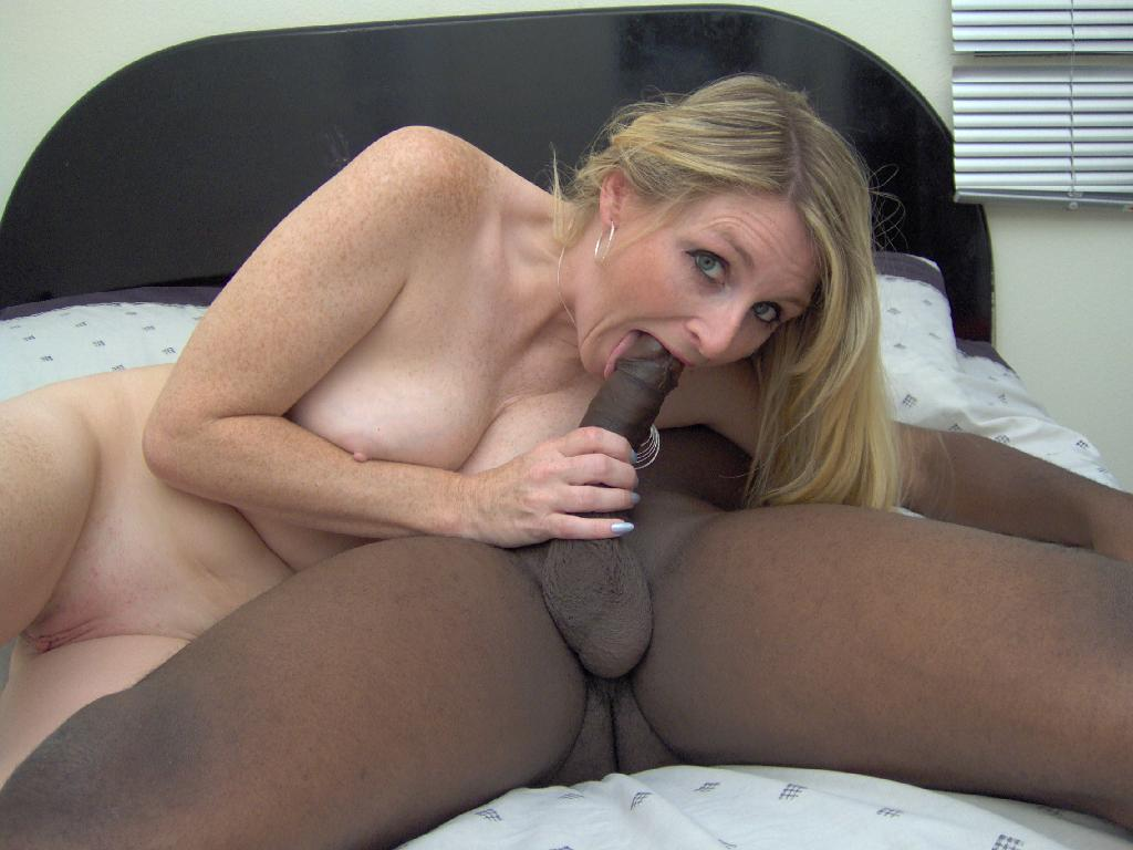 Ashley sucking black cock again