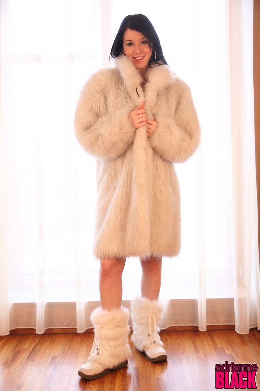 Sexy fur coat and boots