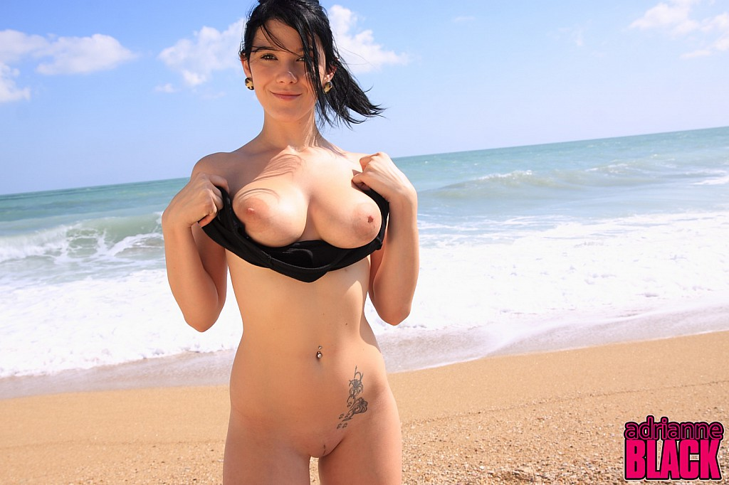 Nude jumping rope at the beach