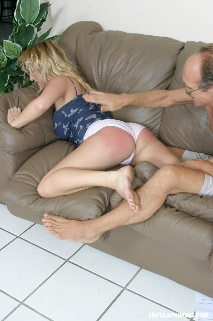 Busty blond spanks daughter with belt