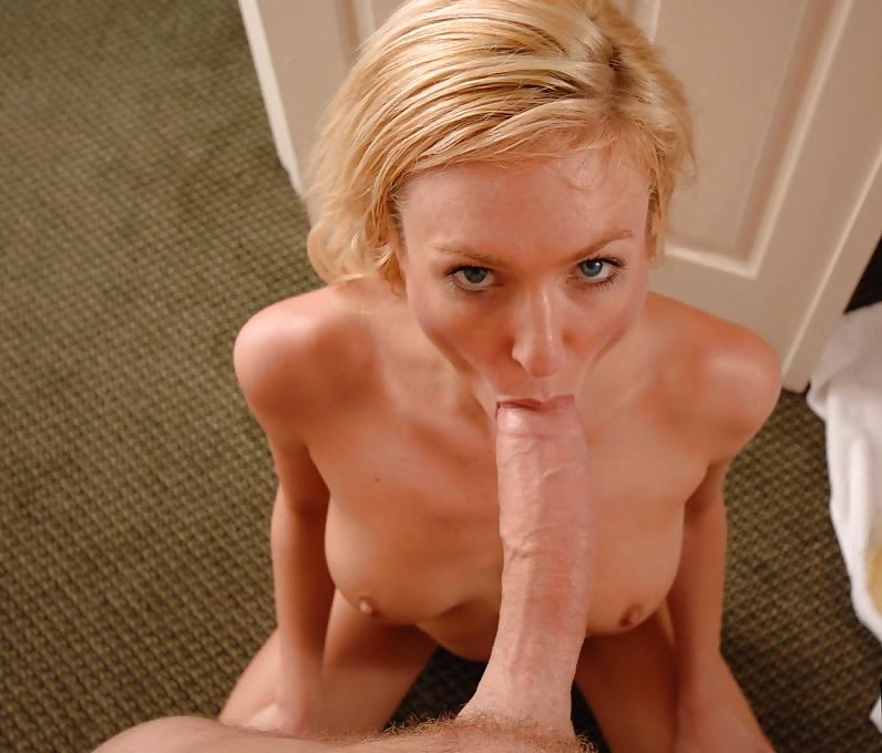 Hot Blonde Gives Blowjob Strip