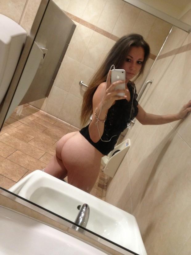 Public bathroom selfie