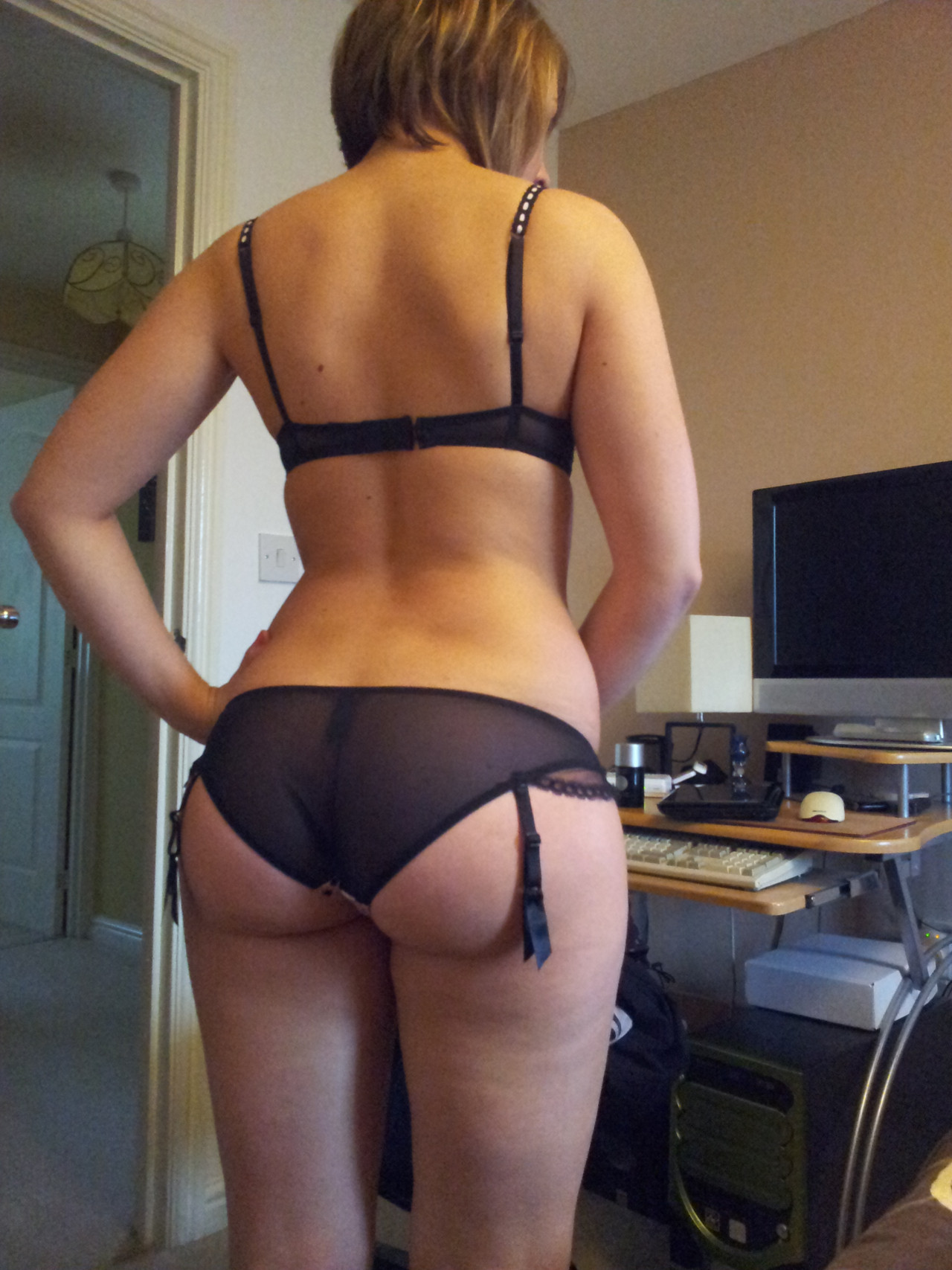 Wife in black panties