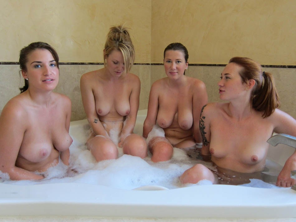 Girl gets in hot tub naked