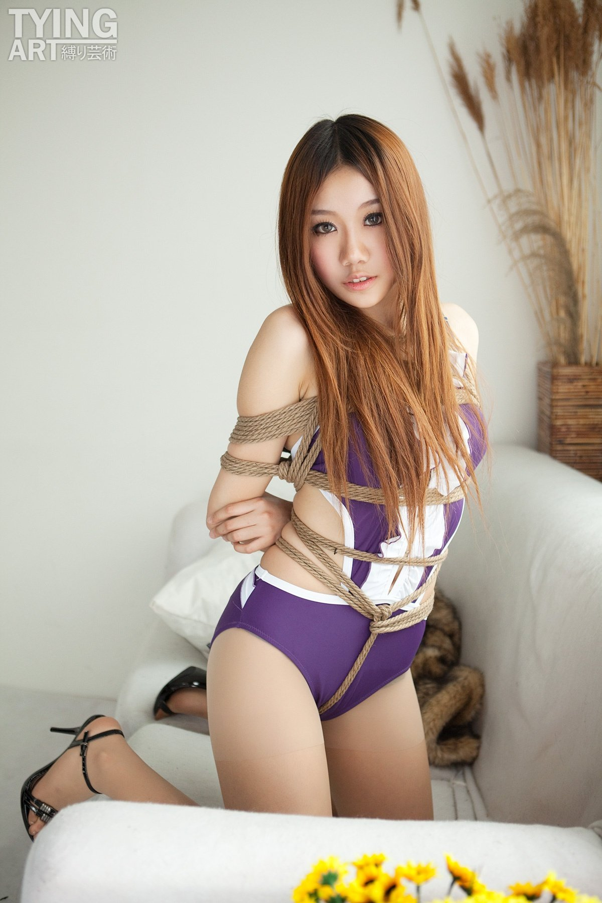 Gorgeous Asian Girl Tied In Rope 14492-6840