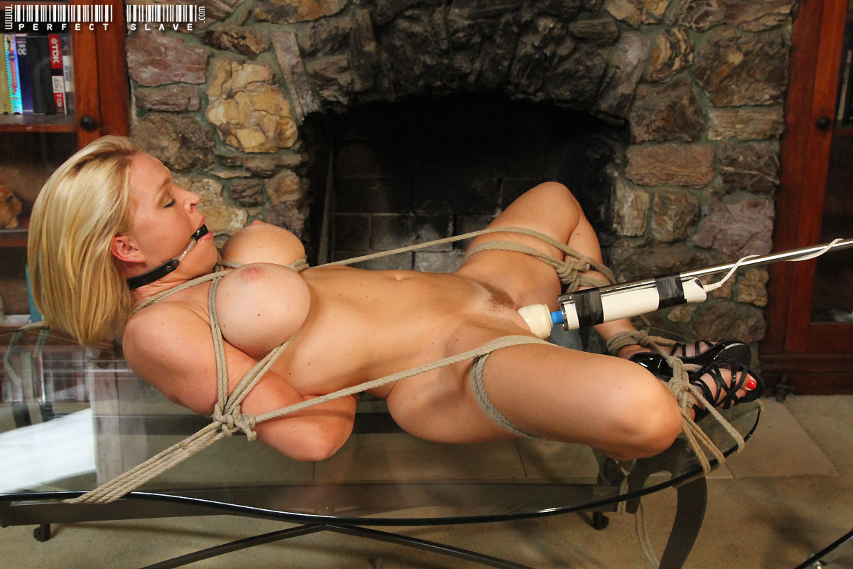 Hogtied Blonde On Coffee Table Gets Pussy Toying 17351-3699