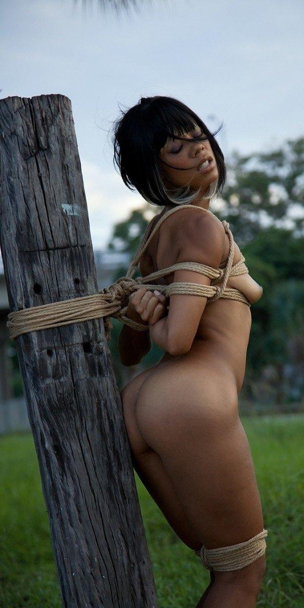nude brunette tied up